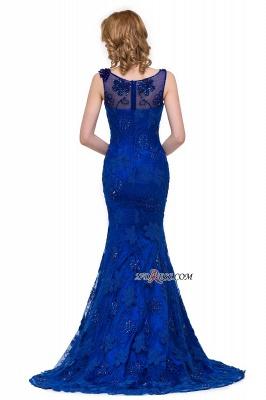 Sleeveless Tulle Mermaid Royal-Blue Appliques Crystal Prom Dress UK_4