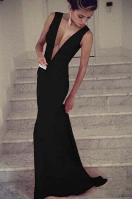 Secy Black Deep V-Neck Prom Dress UKes UK Sleeveless Mermaid Long SD074_1