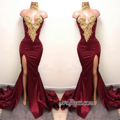 Burgundy Lace-Appliques Elegant Mermaid High-Neck Front-Split Prom Dress UK SP0326_2