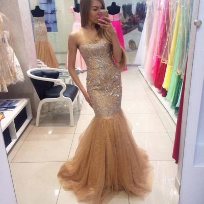 Gorgeous Sweetheart Beadings Mermaid Evening Dress UKes UK Tulle Zipper Back_1