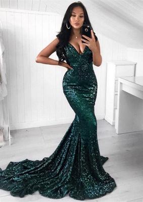 Green Sequins Prom Dress UK | Mermaid Evening Party Dress UK_1