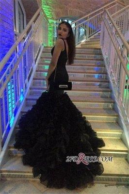 Deep-V-Neck Black Elegant Sleeveless Mermaid Prom Dress UK BK0_2