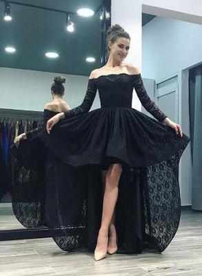 Elegant Black Lace Hi-Lo Prom Dress UK Long Sleeve Party Gowns_1