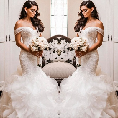 Off The Shoulder Puffy Ruffles Wedding Dresses UK Cheap Sheath Tulle Lace Bridal Gowns_3