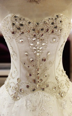 New Arrival Beaded Wedding Dresses UK Sweetheart Sleeveless Lace Appliques Bridal Dresses_5