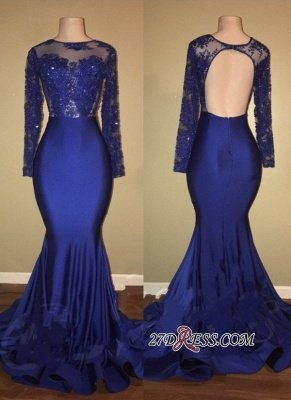 Royal blue mermaid prom Dress UK, long evening gowns RM0_2