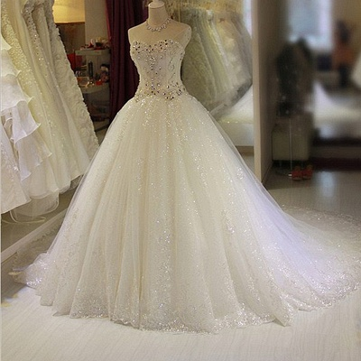 New Arrival Beaded Wedding Dresses UK Sweetheart Sleeveless Lace Appliques Bridal Dresses_3