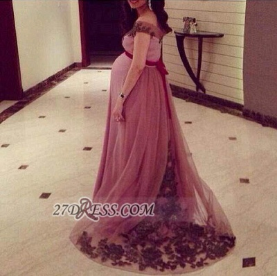 Modern Off-shoulder Floor-length Tulle Maternity Prom Dress UK With Lace Appliques_1