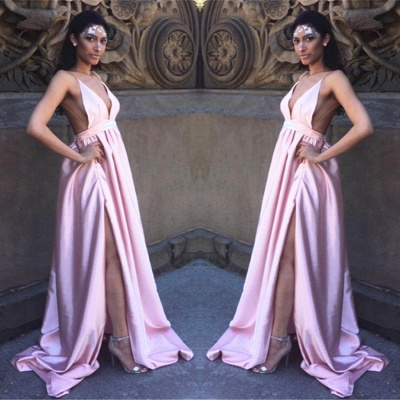Charming Split Pink Long Prom Dress UK Spaghetti Straps Backless BA3533_2