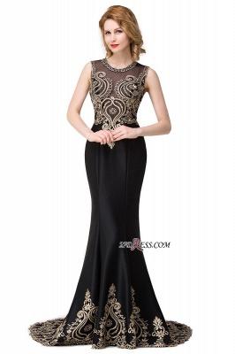 Scoop Sleeveless New Mermaid Appliques Black Prom Dress UK_1