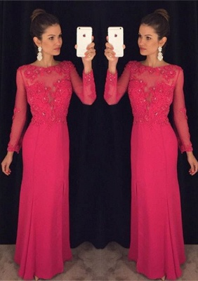 Sexy Long Sleeve Red Chiffon Prom Dress UK Lace Appliques Sequins AP0_1