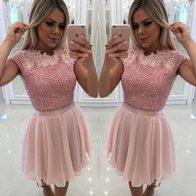 Beautiful Pink Pearls Homecoming Dress UK | 2019 Short Mini Party Dress UK_3