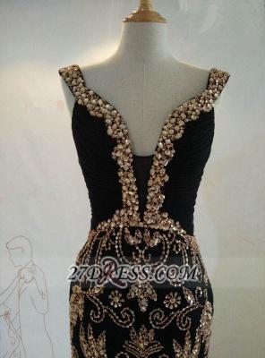 Elegant Black V-Neck Mermaid Prom Dress UK Beadings Crystals Sweep Train Evening Gowns_2