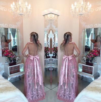 Gorgeous Lace Appliques A-line Prom Dress UK Beadings Bowknot_3