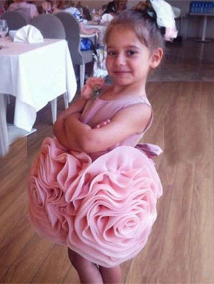 Lovely Flowers Pink Short Girl Pageant Dress Bowknot Lace-up Sleeveless_5