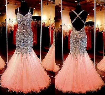 Luxury V-Neck Sleeveless Mermaid Beadings Crystal Prom Dress UK BA7545_2