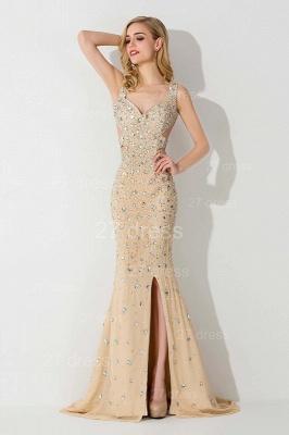 Elegant Straps Crystals Mermaid Evening Dress UK Front Split_1