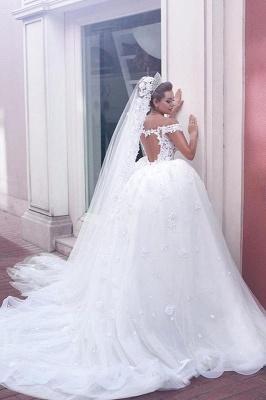 Gorgeous Off-the-Shoulder Detachable Lace Tulle Wedding Dress_3