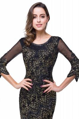 Elegant Black 3/4 Long Sleeve Mother Of the Bride Dress UK Mermaid With Appliques_3