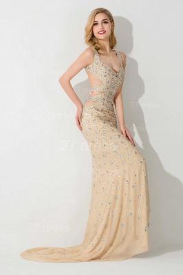 Elegant Straps Crystals Mermaid Evening Dress UK Front Split_2