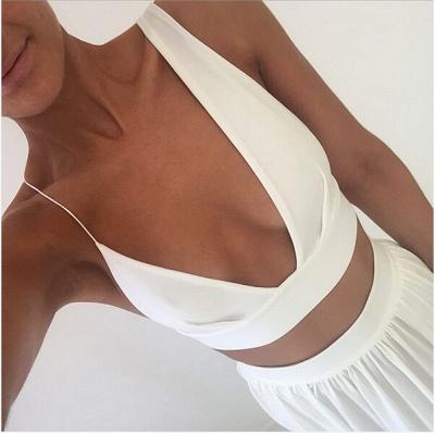 Elegant White Two Piece Prom Dress UK Front Split Floor-length_4
