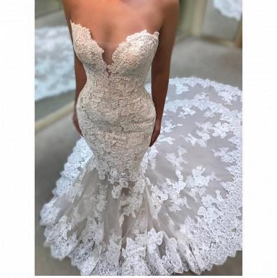 Elegant Sweetheart Wedding Dresses UK   Lace Appliques Sleeveless Bridal Gowns_3