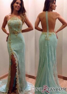 Lace Stunning Zipper Sleeveless Appliques Split Evening Dress UK_2