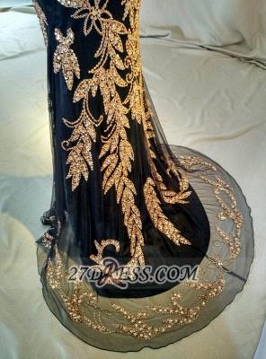 Elegant Black V-Neck Mermaid Prom Dress UK Beadings Crystals Sweep Train Evening Gowns_3