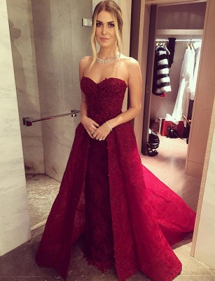 Chic Sweetheart-Neck Burgundy Overskirt Long Lace-Beaded Prom Dress UKes UK LY121_4