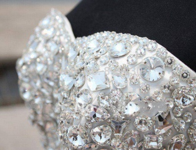 Gorgeous Crystals Sexy Mermaid Tulle Wedding Dress Sweetheart Sleeveless_4
