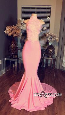 Mermaid Pink Sleeveless High-Neck Lace Long Prom Dress UKes UK BA4981_1