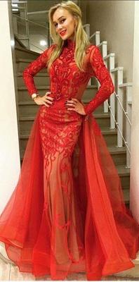 Elegant red Long Sleeve Evening Dress UK Tulle Mermaid Lace_1