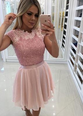 Beautiful Pink Pearls Homecoming Dress UK | 2019 Short Mini Party Dress UK_1