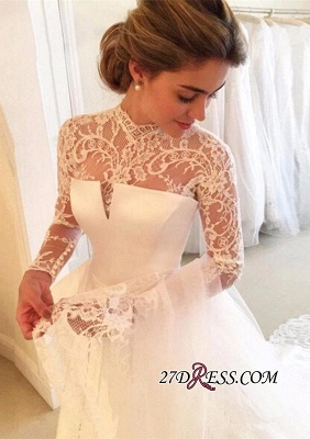 High-Neck Elegant A-line Long-Sleeve Lace Zipper Wedding Dress_4