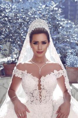 Gorgeous Off-the-Shoulder Detachable Lace Tulle Wedding Dress_1