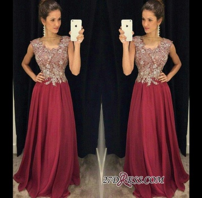 Beadings Appliques Floor-Length Sleeveless A-Line Sexy Prom Dress UKes UK_1
