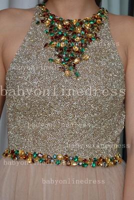 Elegant Sexy Vestido Formal Party Dress UKes UK Colorful A-Line Chiffon Crew Evening Dress UKes UK With Beaded Crystals_3