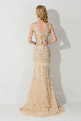 Elegant Straps Crystals Mermaid Evening Dress UK Front Split_3