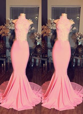 Mermaid Pink Sleeveless High-Neck Lace Long Prom Dress UKes UK BA4981_2