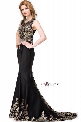 Scoop Sleeveless New Mermaid Appliques Black Prom Dress UK_3