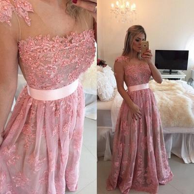 Gorgeous Lace Appliques A-line Prom Dress UK Beadings Bowknot_2