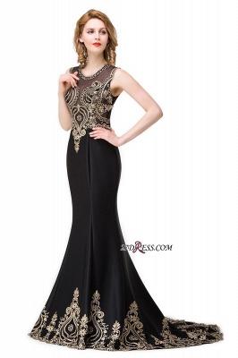 Scoop Sleeveless New Mermaid Appliques Black Prom Dress UK_6