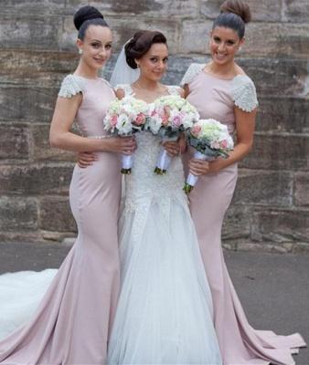 Modern Jewel Cap Sleeve Mermaid Bridesmaid Dress UK With Beadings_1