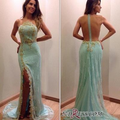 Lace Stunning Zipper Sleeveless Appliques Split Evening Dress UK_1