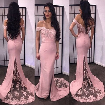 Sexy Lace Appliques Mermaid Prom Dress UK Off-the-shoulder Sweep Train_1