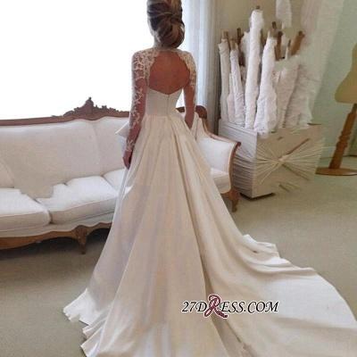 High-Neck Elegant A-line Long-Sleeve Lace Zipper Wedding Dress_2