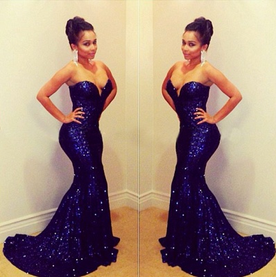 Elegant Sequins Sweetheart Mermaid Prom Dress UK_2