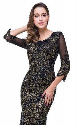Elegant Black 3/4 Long Sleeve Mother Of the Bride Dress UK Mermaid With Appliques_5
