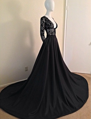 Elegant Black Long Sleeves Lace Porm Dress UK With V-Neck A-Line Evening Dress UK_1