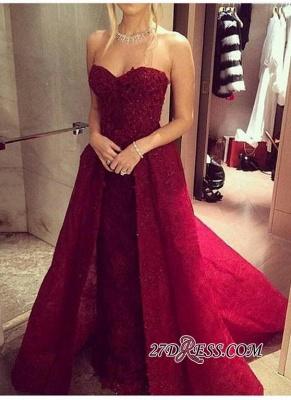 Chic Sweetheart-Neck Burgundy Overskirt Long Lace-Beaded Prom Dress UKes UK LY121_3